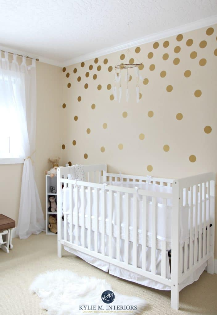 Benjamin Moore Gentle Cream In A Gender Neutral Baby Nursery With Gold Polka Dots And White Crib