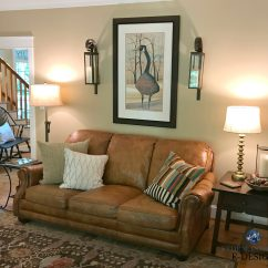 Photos Of Living Rooms With Brown Leather Furniture Tropical Room Design Ideas Benjamin Moore Lenox Tan Farmhouse Country Style Couch Pine Floor And Door Kylie M E Virtual Online Color
