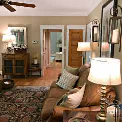 Photos Of Living Rooms With Brown Leather Furniture Traditional Room Decor Benjamin Moore Lenox Tan In Farmhouse Country Style Pine Wood Floor Doors Kylie M E Design Virtual And Online