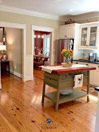 Pine wood flooring, farmhouse country style kitchen with