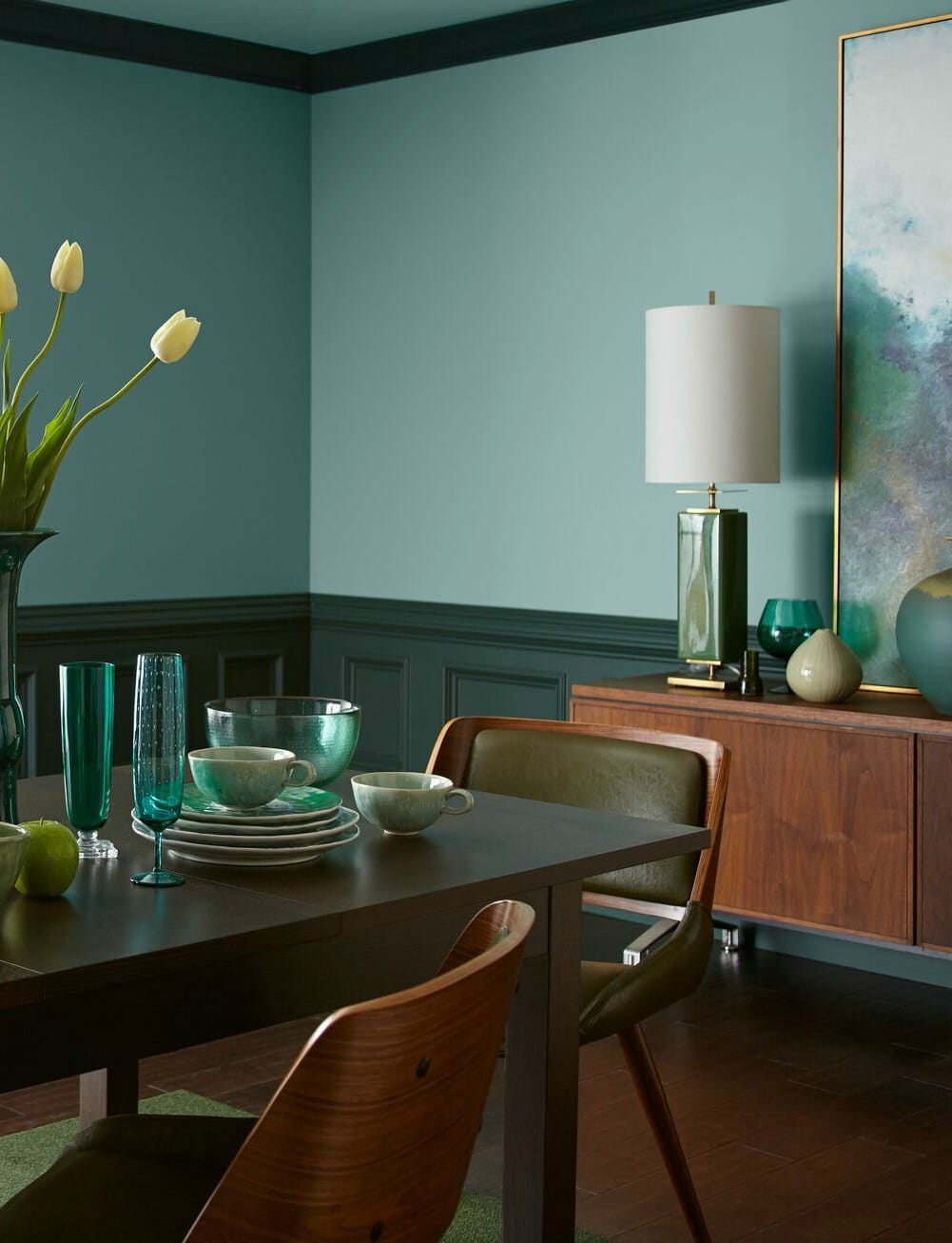Behr In The Moment In A Diningroom With Dark Wood Painted