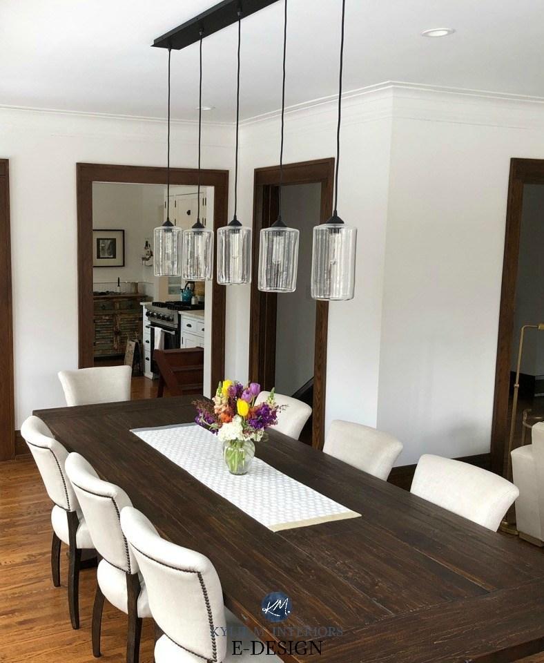 The 7 Best Neutral Paint Colours To Update Dark Wood Trim   White And Dark Wood Stairs   Medium Dark   Foyer   Stair Railing   Indoor   Traditional