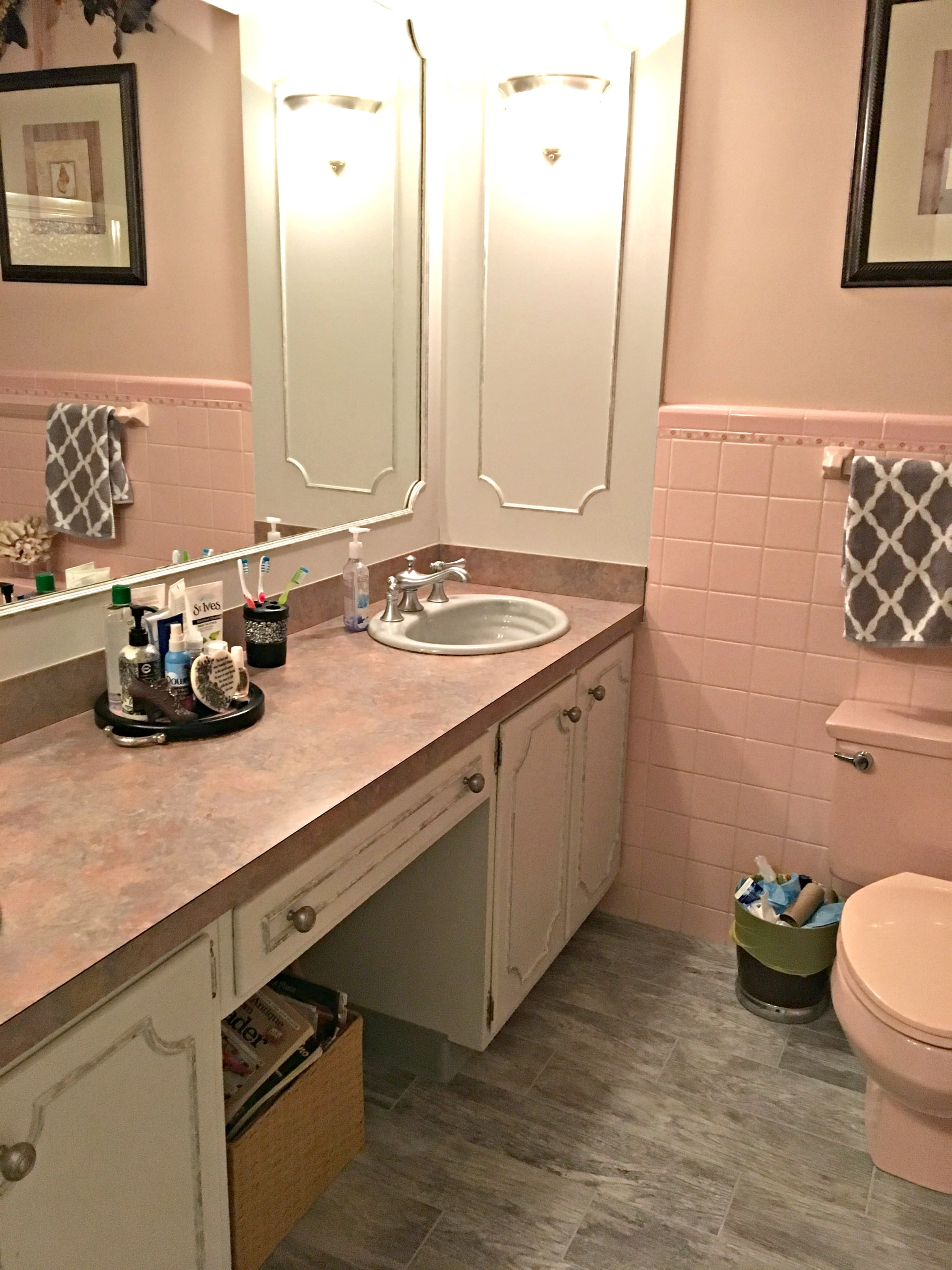 pink countertops kitchen bridge faucets paint colours to update a bathroom and countertop