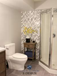 herringbone or chevron gray marble accent tile in small