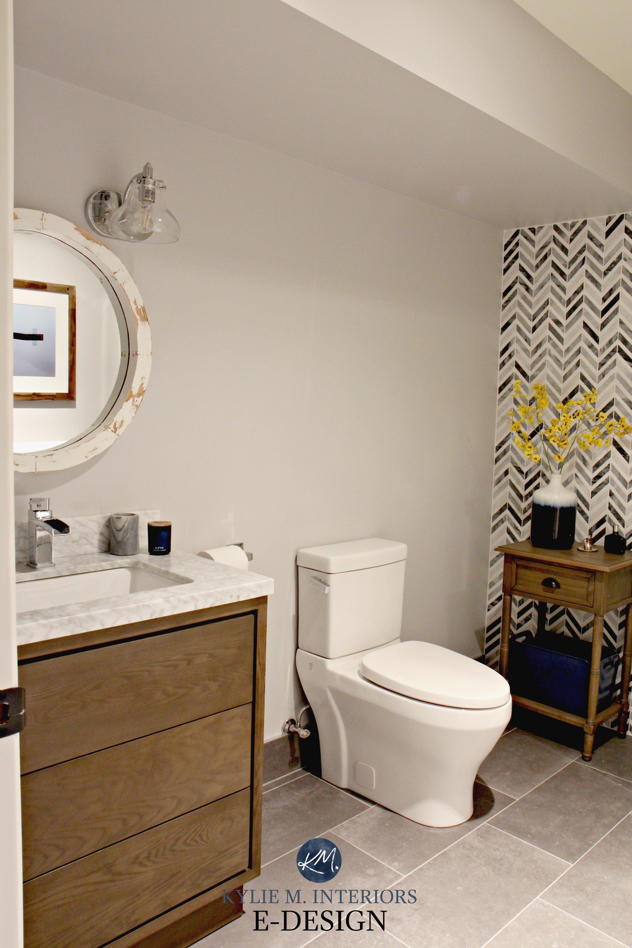 Ideas to add style to small bathroom. Herringbone marble