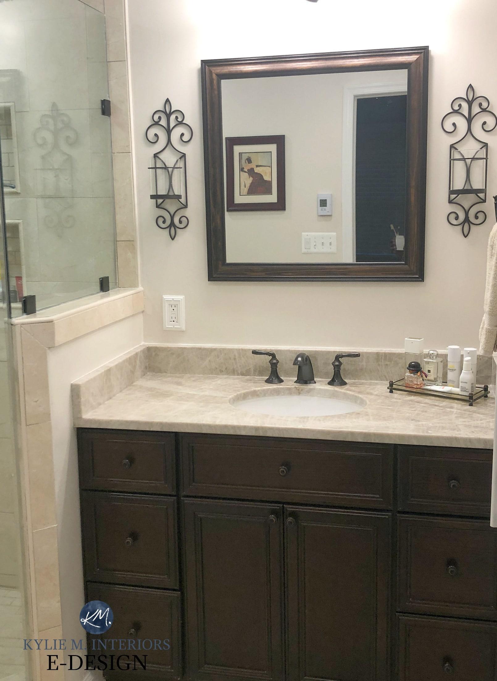 Bathroom Vanity Travertine Tile And Countertop Espresso