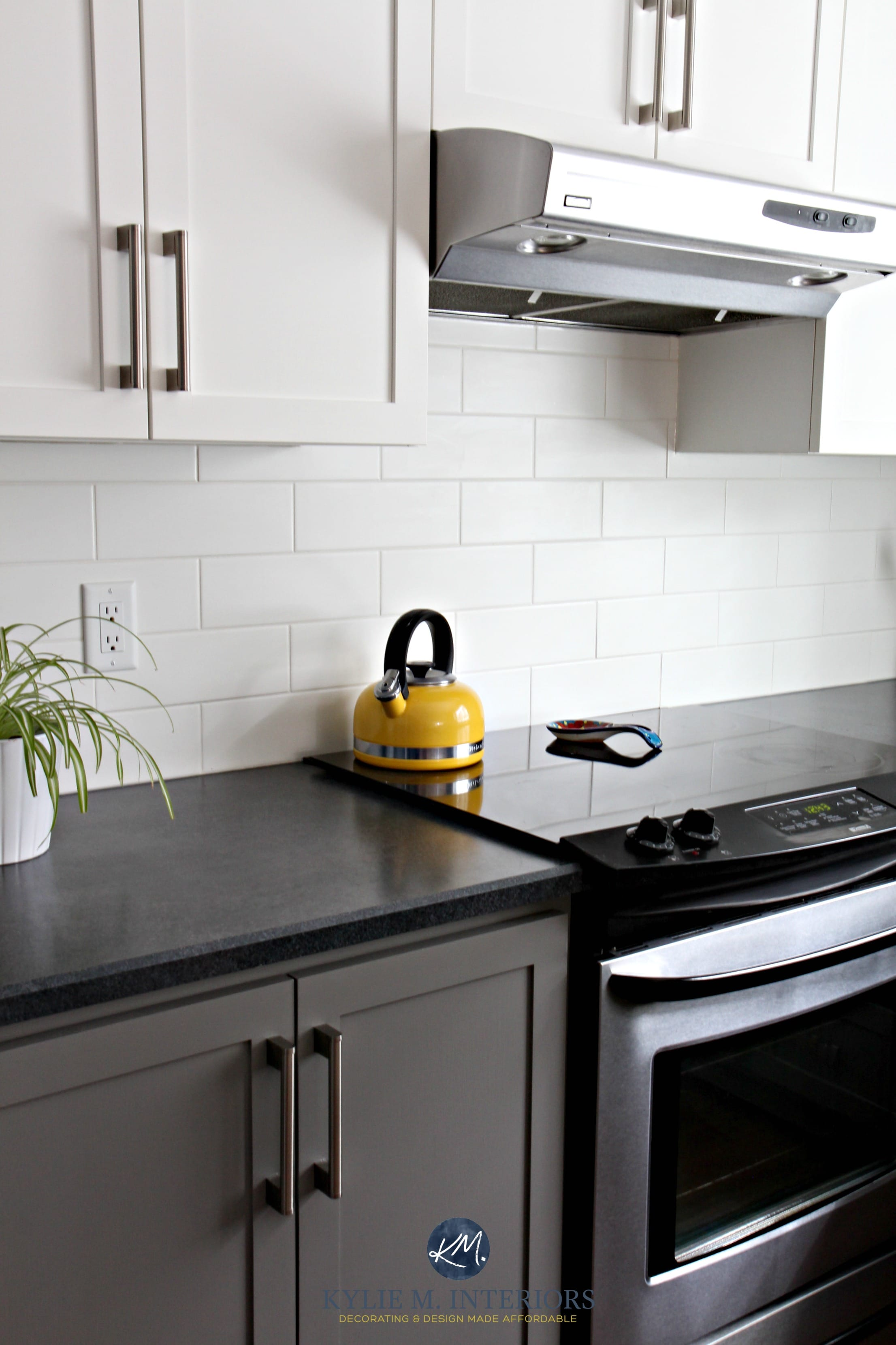 kitchen laminate tall garbage bags with chelsea gray subway tile black countertop stainless steel owl paint on the walls 3