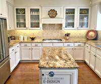 Kitchen with maple cabinets and wood floor painted ...