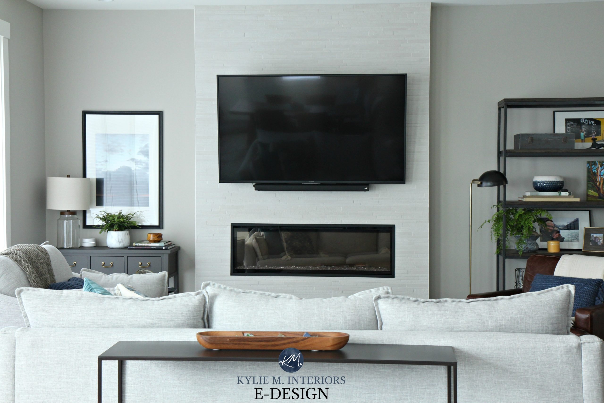 living room fireplace and tv interior design soothing paint colors for sherwin williams collonade gray in kylie m interiors edesign above electric with