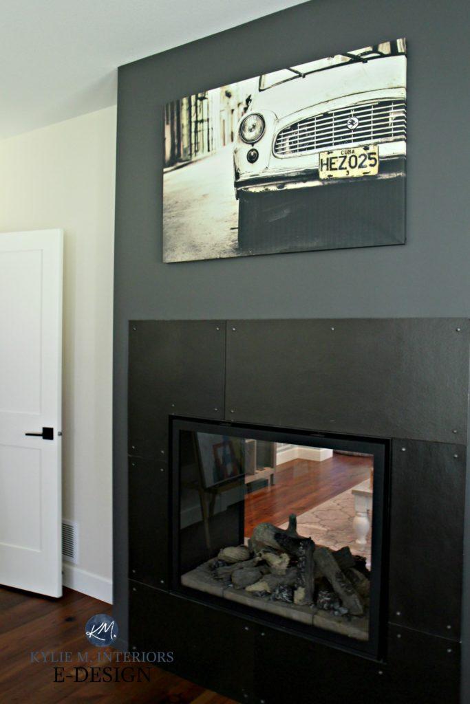 Diy industrial metal looking fireplace surround Benjamin