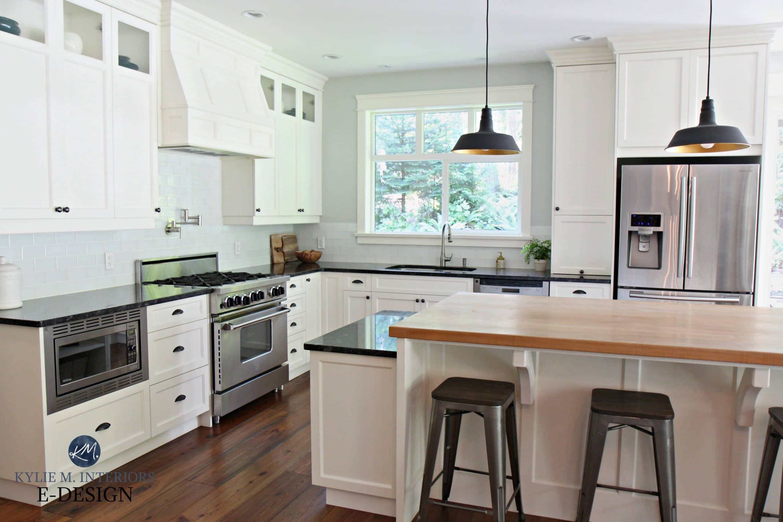 Farmhouse Country Style Kitchen Cloud White Cabinets Black Granite Countertop Butcher Block Island Wood Floor Kylie M Interiors Edesign Online Paint Color Consultant 2