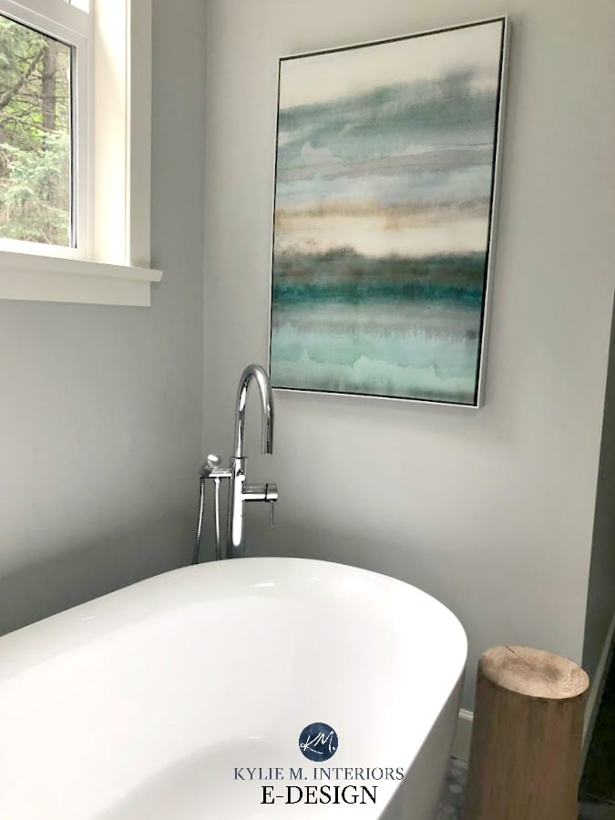 Spa style relaxing bathroom with Benjamin Moore Wickham
