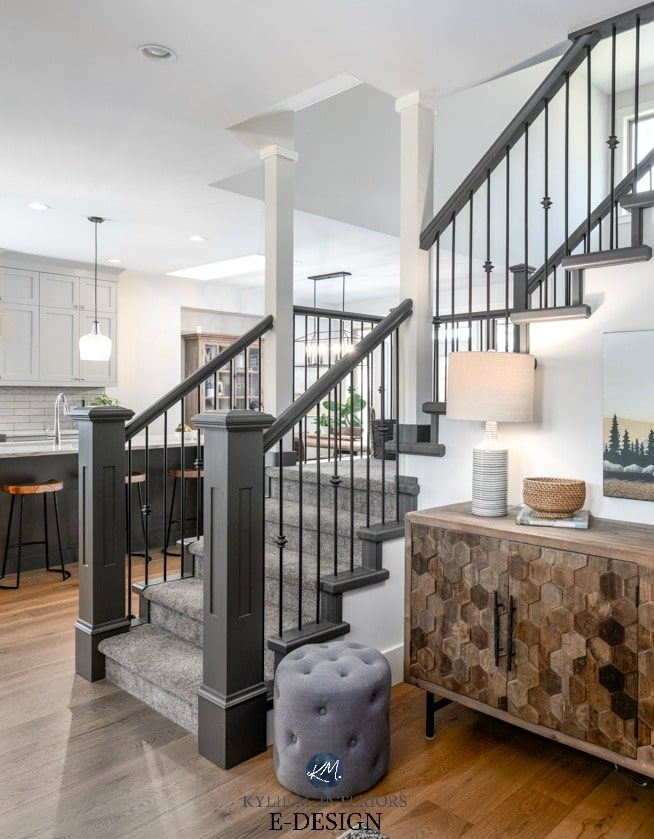 Staircase In Entryway With Painted Hand Railing And Carpet On | White Stairs With Carpet | Black | Chic | Victorian Staircase Carpet | Hardwood | Pinstripe Grey