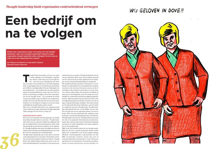 The first page of an article about thought leadership in the Dutch journal 'Communicatie'.