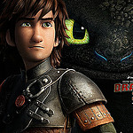 A photo of Hiccup and Toothless from the movie 'How to Train Your Dragon 2'.
