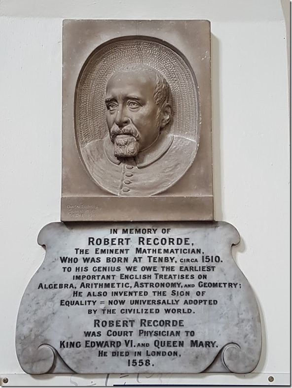 Recorde plaque St Mary church Tenby