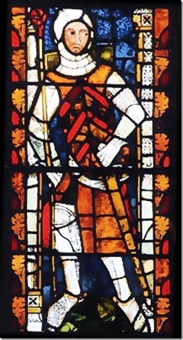 the red earl gilber de clare in stainglass