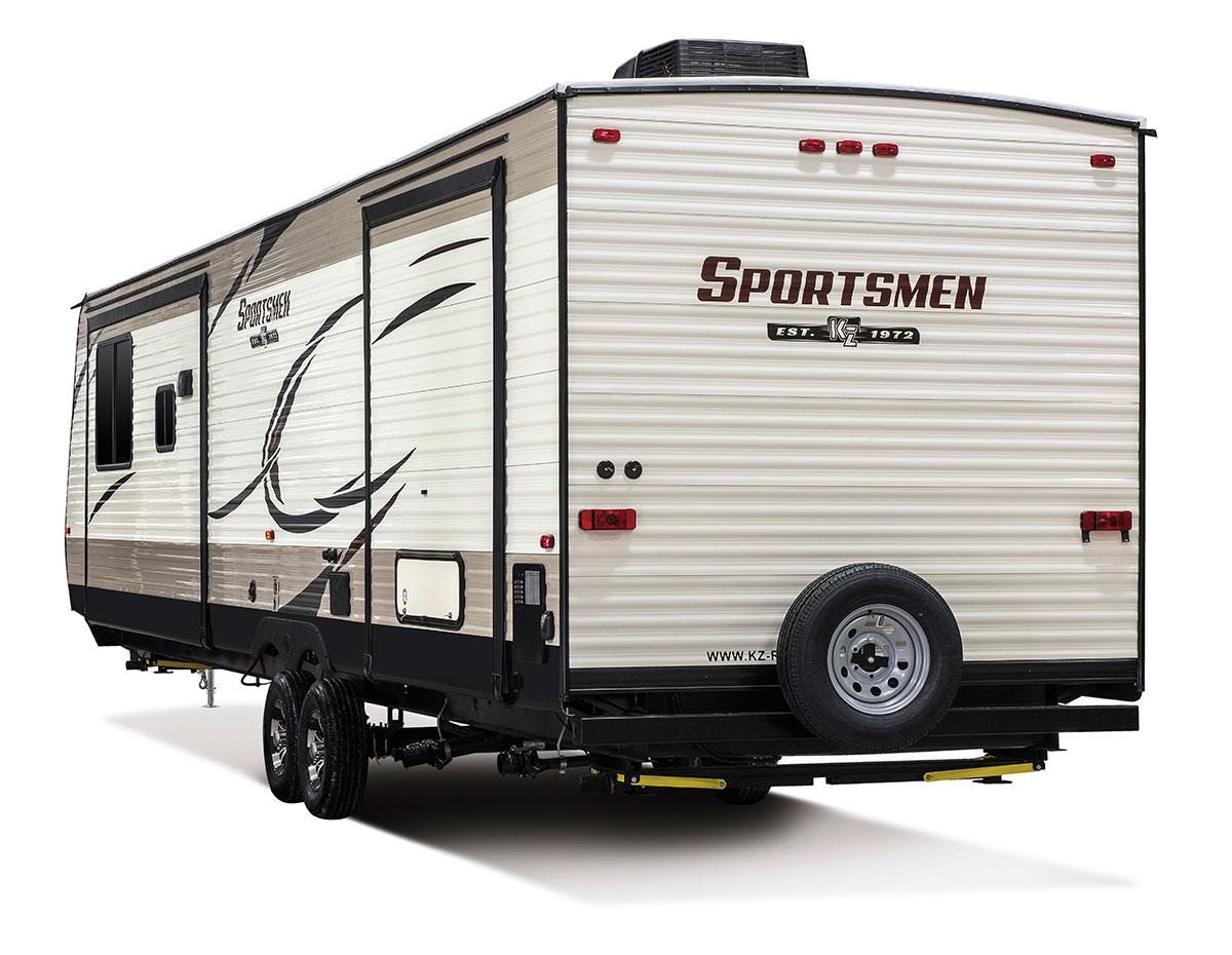 hight resolution of  2018 kz rv sportsmen 363fl destination travel trailer exterior rear 3 4 off door side