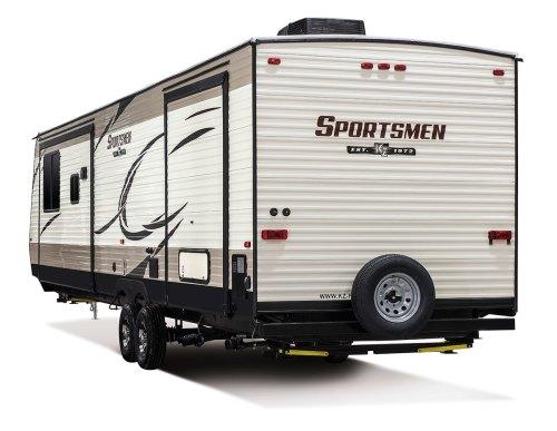 small resolution of  2018 kz rv sportsmen 363fl destination travel trailer exterior rear 3 4 off door side