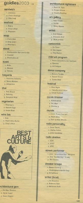 Metro Santa Cruz - 2003 Goldies Best Arts & Culture