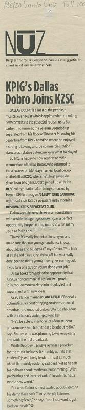 "Metro Santa Cruz - ""KPIG's Dallas Dobro Joins KZSC"" circa Fall 2007"