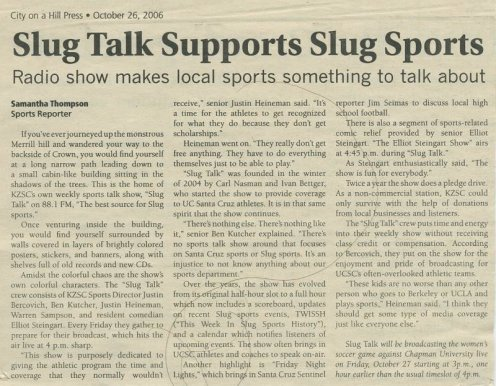 "City on a Hill Press - ""Slug Talk Supports Slug Sports"" 10/26/2006"