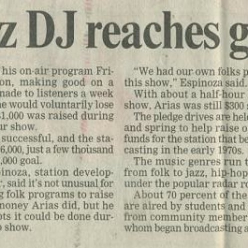 "Santa Cruz Sentinel - ""UC Santa Cruz DJ reaches goal by a hair"" circa May 2001"