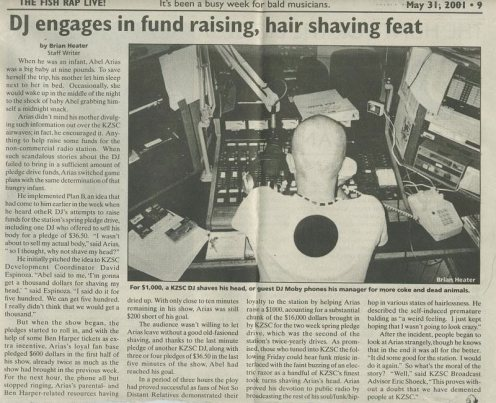 "Fish Rap Live! - ""DJ engages in fund raising, hair shaving feat"" 5/31/2001"
