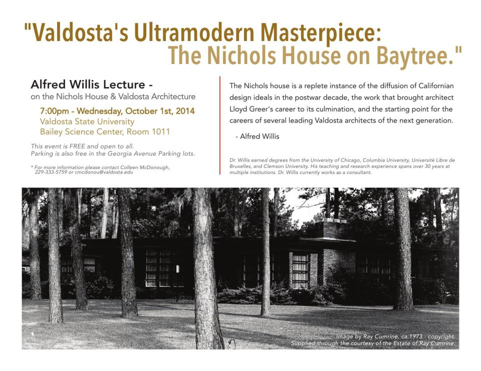 1650x1275 Talk Flyer, in Valdosta's Ultramodern Masterpiece: The Nichols House on Baytree, by Alfred Willis, 1 October 2014