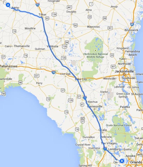 Armena, GA to Ferndale, FL, in Alternative 2: Armena to US 82 to I-75 to FL Turnpike, FERC to Sabal Trail, by John S. Quarterman, 14 September 2014
