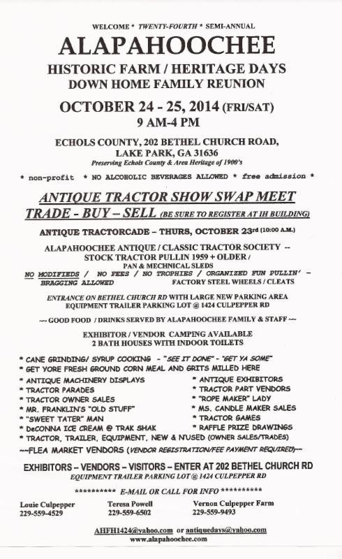 Flyer, in Alapahoochee Antique Tractor Show & Historic Farm Heritage Days, by Lake Park Chamber of Commerce, 24 October 2014