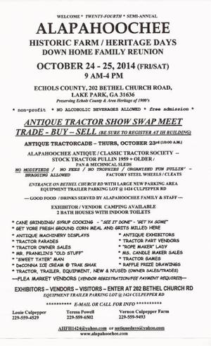 300x490 Flyer, in Alapahoochee Antique Tractor Show & Historic Farm Heritage Days, by Lake Park Chamber of Commerce, 24 October 2014