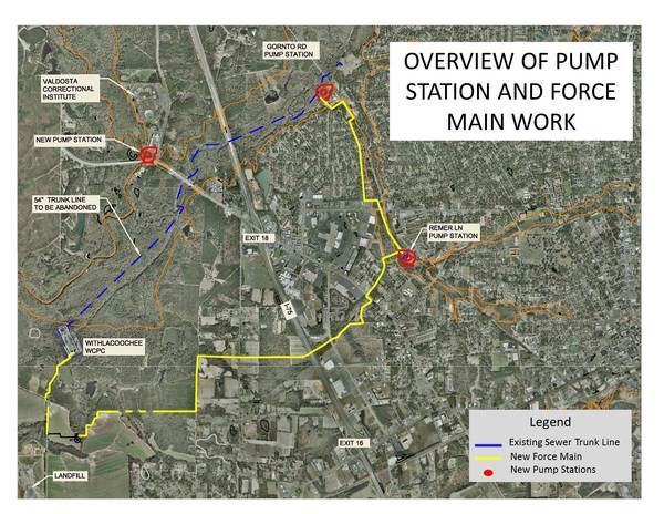 600x464 Map, in Force Main and Pump Stations, by City of Valdosta, 8 November 2014