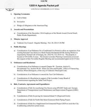 300x352 Page 1, in Agenda, Valdosta City Council, by John S. Quarterman, 9 December 2014