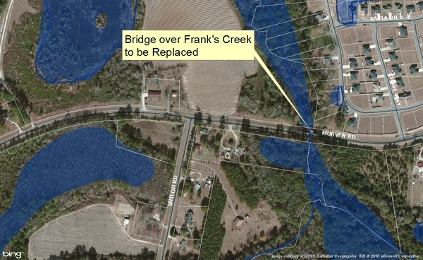 600x368 Franks Creek Bridge, in Maps from board packet, by John S. Quarterman, 10 February 2015