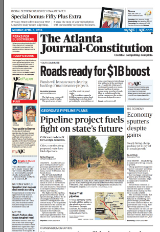 313x453 Page A1, in Sabal Trail front page Atlanta Journal-Constitution, by John S. Quarterman, 3 April 2015