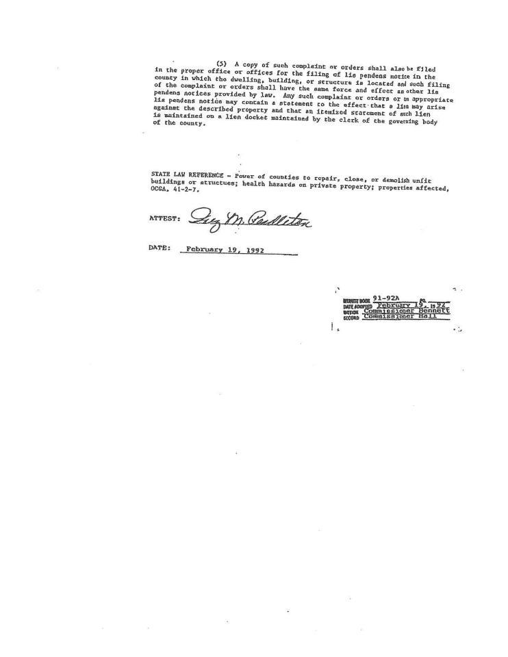 1275x1650 Attest: Inez M. Pendleton, in Noise Abatement Ordinance, by John S. Quarterman, 11 August 2015