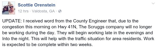 532x166 I received word from the County Engineer that..., in US 41N congested; Scruggs Co. no longer working during day, by Scottie Orenstein, 12 August 2015