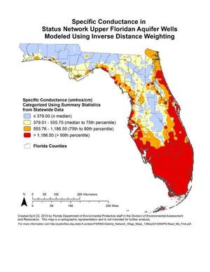 Specific Conductance in Status Network Upper Floridan Aquifer Wells Modeled Using Inverse Distance Weighting