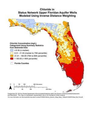 Chloride in Status Network Upper Floridan Aquifer Wells Modeled Using Inverse Distance Weighting