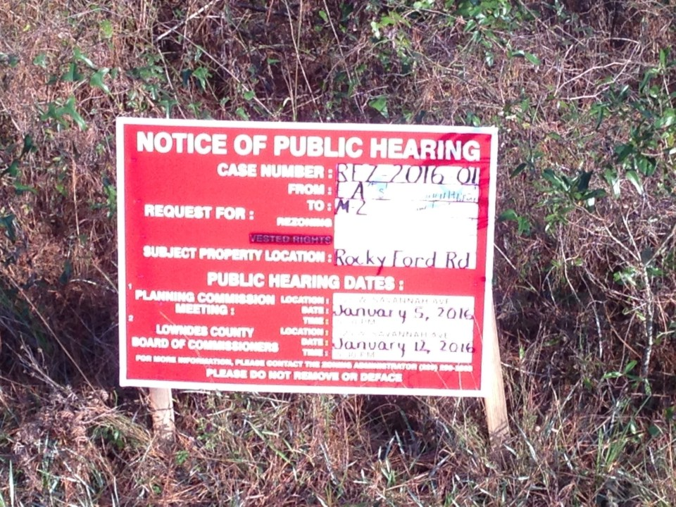 2048x1536 Rezoning sign, in Heavy Manufacturing rezoning on special called Planning Commission agenda, by John S. Quarterman, 5 January 2016