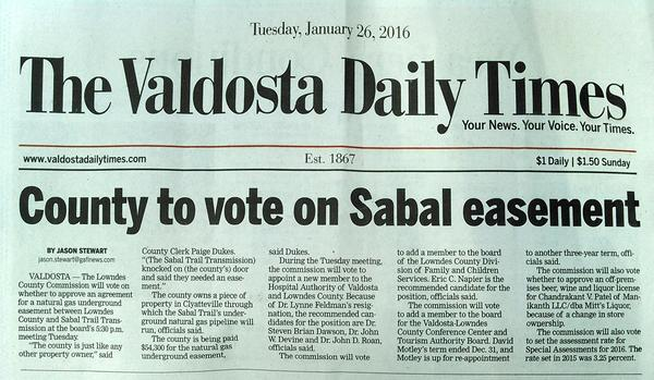 600x349 Page A1, in County to vote on Sabal easement, by Jason Stewart, 26 January 2016