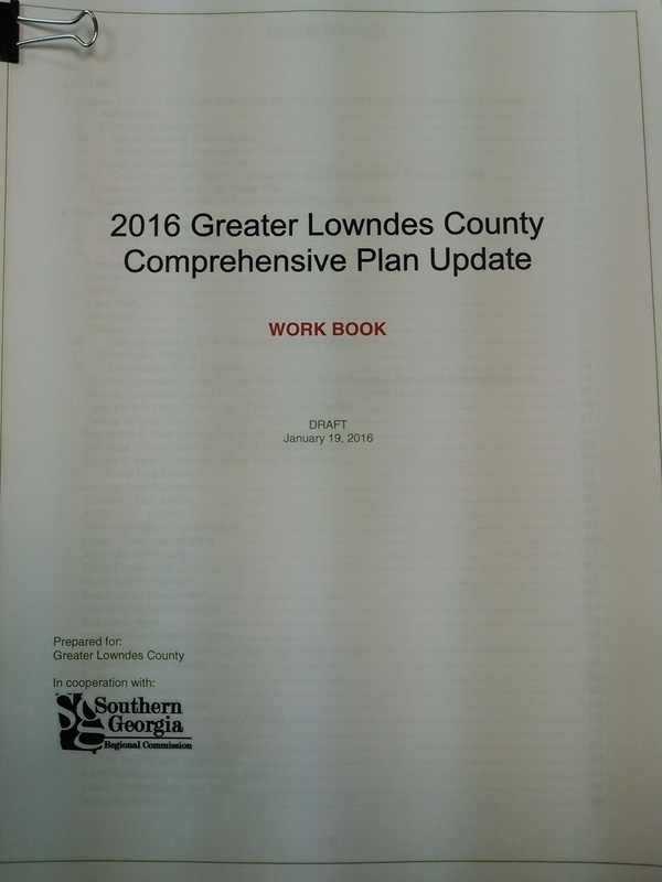 Work Book, 2016 Greater Lowndes County Comprehensive Plan Update