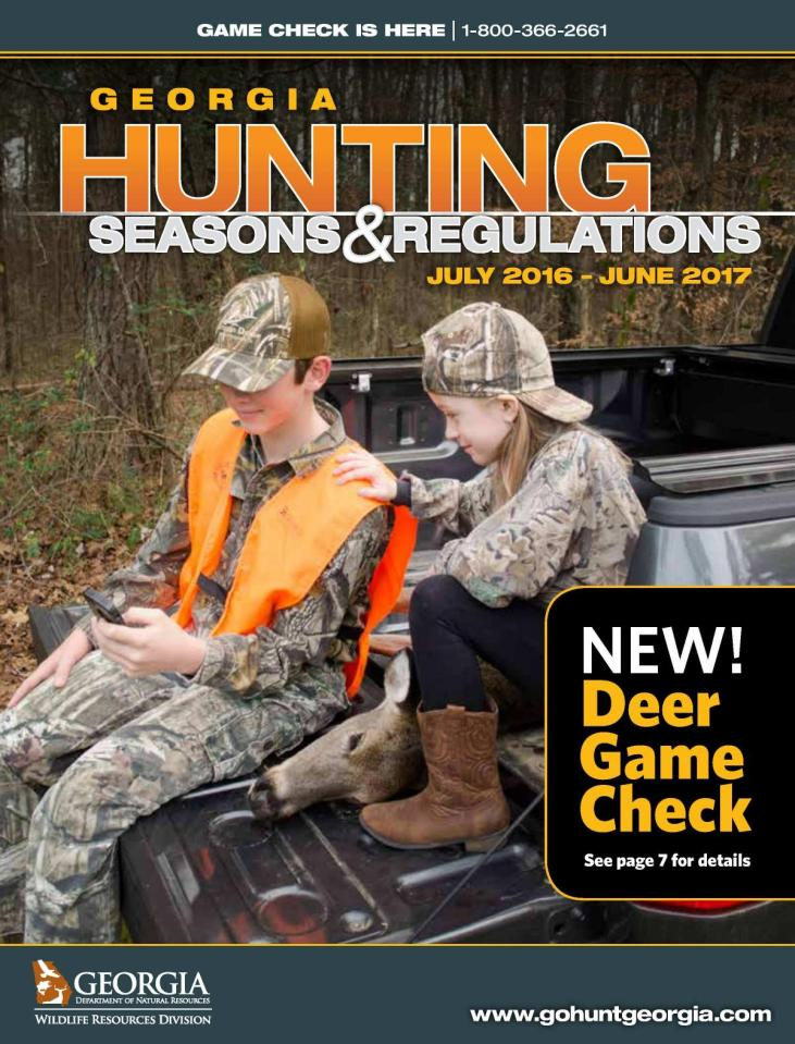 1200x1575 Cover, in Georgia Hunting Seasons and Regulations July 2016-June 2017, by Georgia DNR Wildlife Resources Division, 1 July 2016