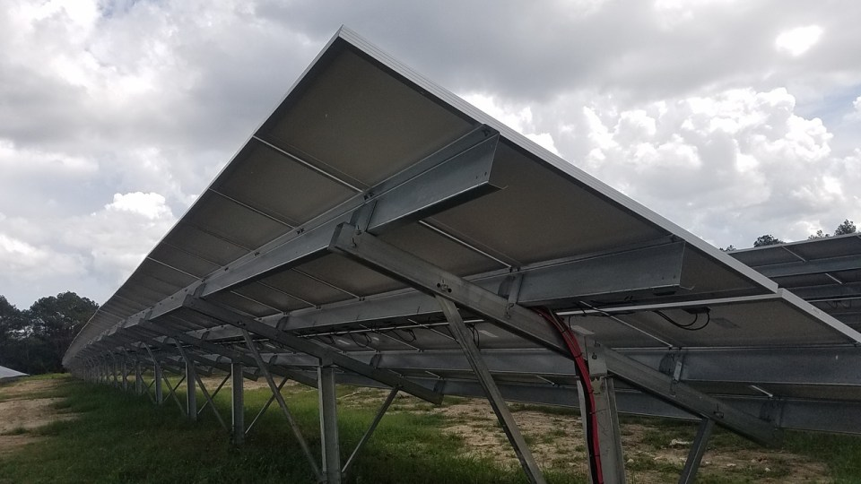 1280x720 Back of panels, in Valdosta Solar Power on Val Tech Road, by John S. Quarterman, 1 September 2017