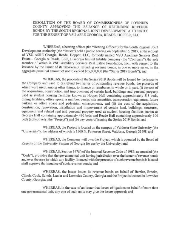 [RESOLUTION OF THE BOARD OF COMMISSIONERS OF LOWNDES]