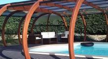 Abri piscine bois en rotonde