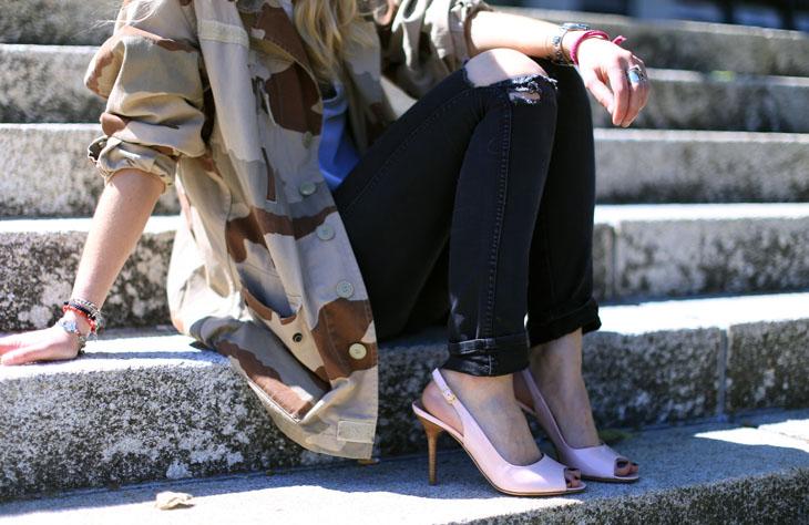 1_look_blog_mode_veste_militaire_vintage_jean_hm_escarpins_nude_valentino