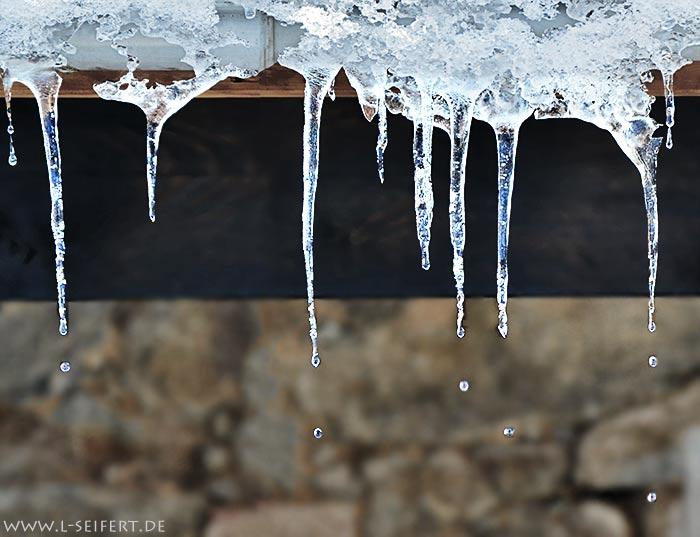 Tauwetter die Eiszapfen tropfen in der Sonne Winterfotos Winterlandschaft und Winterbilder
