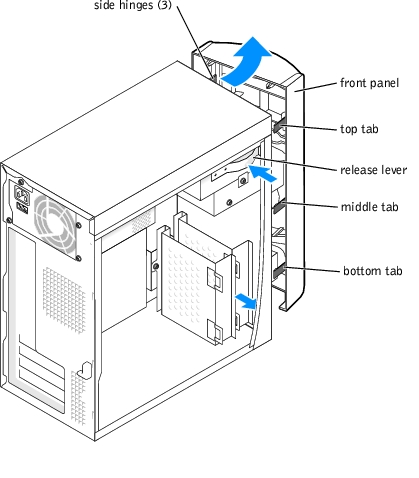 Front Panel: Dell Dimension 4600 Series Service Manual